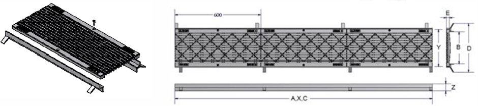 Ductile trench grate and frame class C dimensions