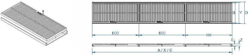 Ductile trench grate & frame dimensions