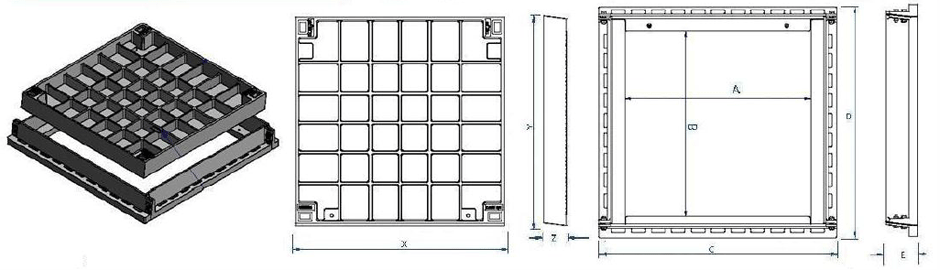 Infill access cover and frame class D dimensions