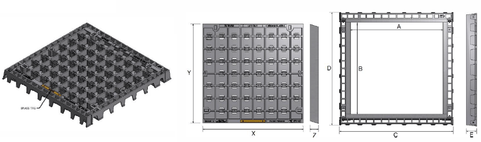 Infill access cover and frame class E dimensions