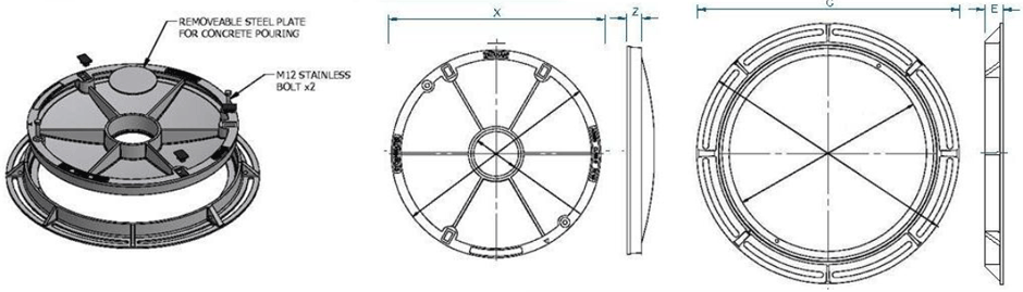 Infill round cover & frame dimensions