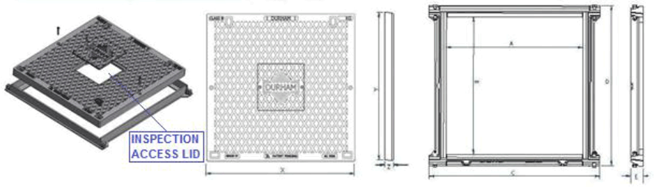 Solid top access cover and frame class B dimensions