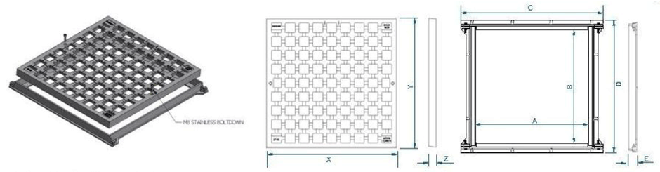 Sump grate & frame dimensions