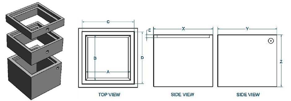 Solid wall riser dimensions