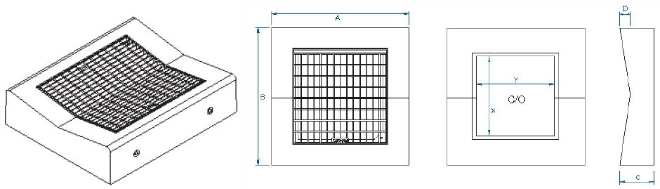 Dish drain V grate & surrounds dimensions