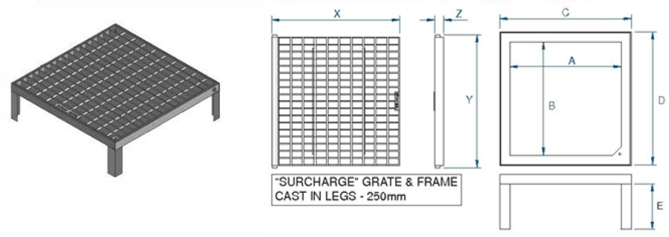 Surcharge grate and frame MSXXCL-C dimensions