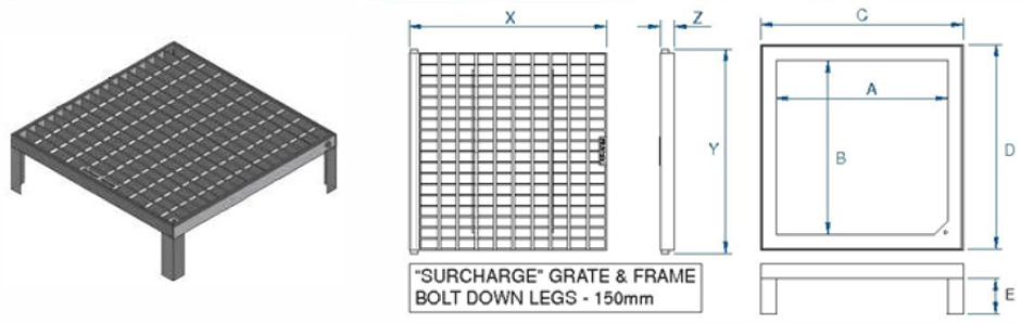Class B surcharge grate and frame dimensions