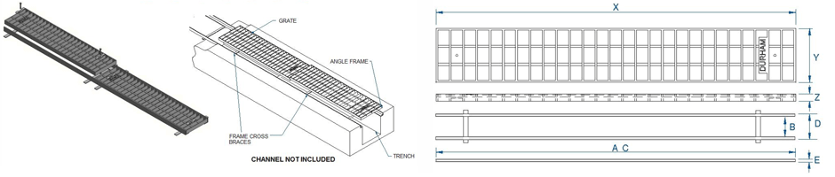 Trench grates & frames dimensions